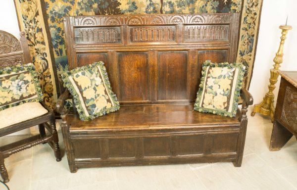 James I Period Oak Box Settle