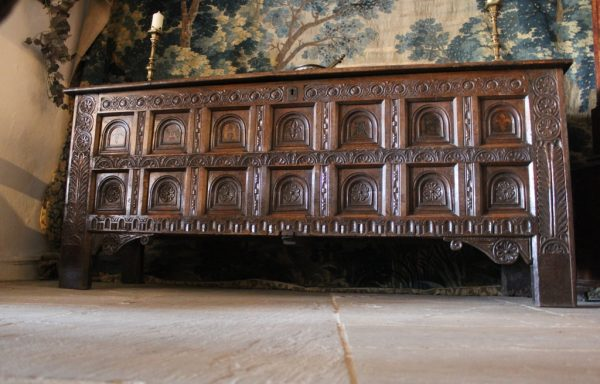 Extremely Rare 14 Panel Period Oak Tudor Chest