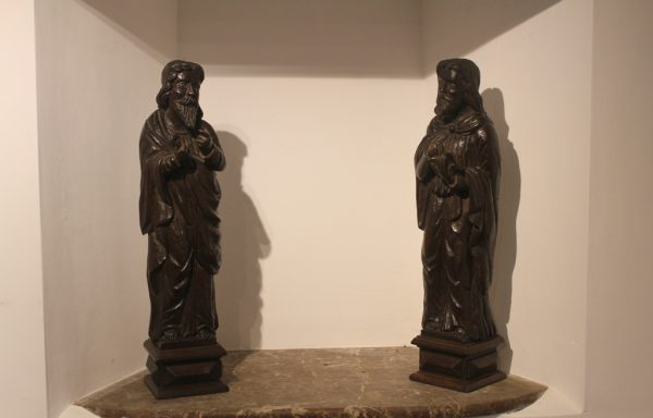 Pair Of 17th Period Oak Century Statues