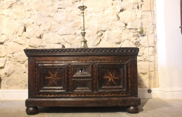 Period Oak Tudor Inlaid Chest