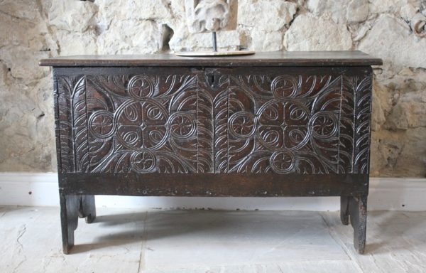 Rare 17th Century Period Oak Chest