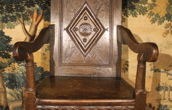17th Century Charles I Period Oak Wainscot Chair