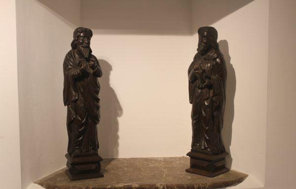 Pair Of 17th Period Oak Century Statues
